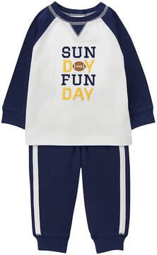 Gymboree White & Navy 'Sunday Funday' Football Tee & Joggers - Infant