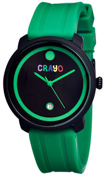 Crayo Unisex Fresh Green Rubber-Strap Watch With Date Cracr0308