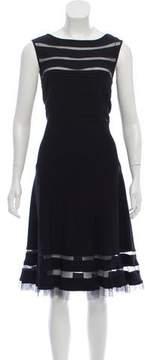 Tadashi Shoji Mesh-Trimmed Midi Dress