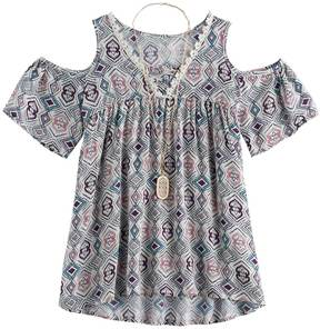 Self Esteem Girls 7-16 Printed Cold Shoulder Top with Necklace