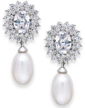 Arabella Cultured Freshwater Pearl (8mm) and Swarovski Zirconia Earrings in Sterling Silver