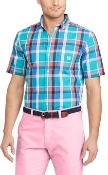 Chaps Men's Classic-Fit Plaid Poplin Easy-Care Button-Down Shirt
