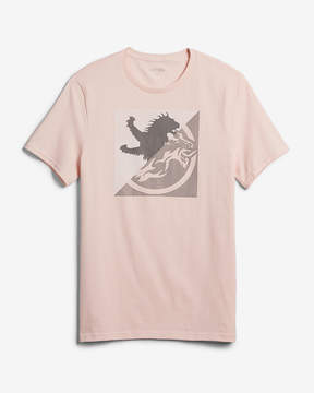 Express Split Lion Logo Cotton Graphic Tee
