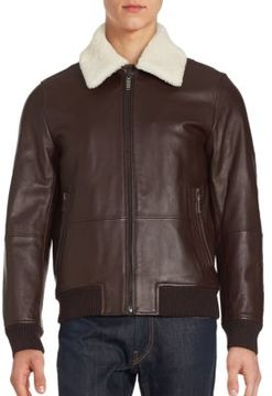 Lamb Wool-Lined Leather Bomber Jacket