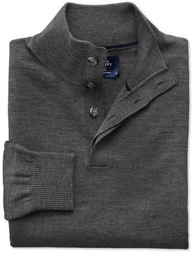 Charles Tyrwhitt Charcoal Merino Wool Button Neck Sweater Size Small