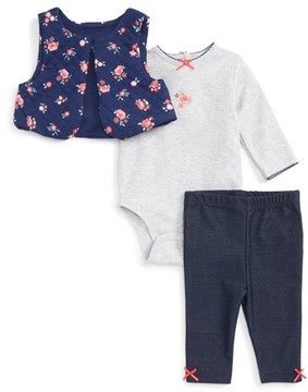 Little Me Infant Girl's Floral Vest, Long Sleeve Bodysuit & Leggings Set