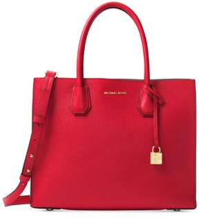 Michael Kors Mercer Large Bonded Leather Tote - Bright Red