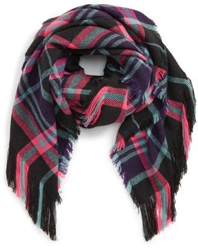 David & Young Women's Fringe Trim Plaid Scarf