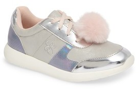 Jessica Simpson Girl's Deuce Faux Fur Pom Sneaker