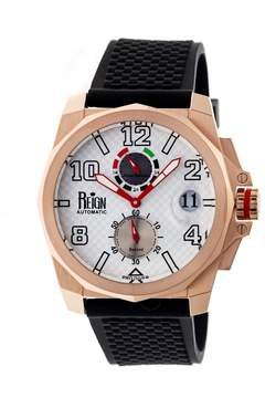 Reign Zhu Rose Gold-tone Stainless Steel Case White Carbon Fiber Dial Black Silicone Strap Men's Watch