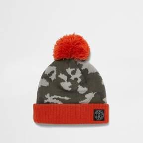 River Island Mini boys khaki camo knit bobble hat