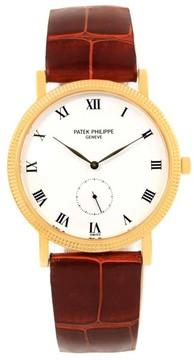 Patek Philippe Calatrava 3919 18K Yellow Gold Brown Strap 33mm Mens Watch