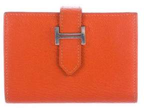 Hermes 2015 Chevre Mysore Bearn Card Holder - ORANGE - STYLE