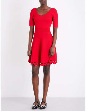 Claudie Pierlot Scalloped-cutout fit-and-flare knitted dress