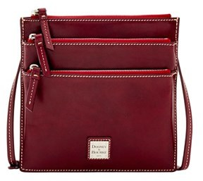 Dooney & Bourke Florentine Toscana North South Triple Zip Shoulder Bag. - BORDEAUX - STYLE