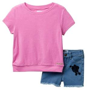 Hudson Terry Top & Stretch Denim Shorts Set (Toddler Girls)