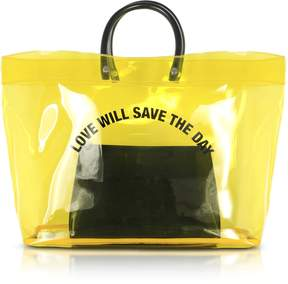 DSQUARED2 Love Will Save the Day Yellow Medium Tote Bag