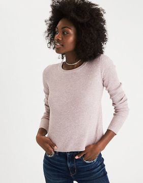 American Eagle Outfitters AE Ribbed Tulip-Back Sweater