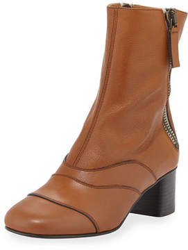 Chloé Side-Zip Leather 50mm Ankle Boot