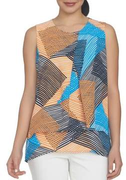 Chaus Nautical Breeze Double Layer Basket-Weave Printed Blouse