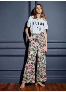 Fleur Du Mal | Wide Leg Pant With Cuff | S | Floral