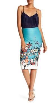 ECI Floral Print Midi Skirt