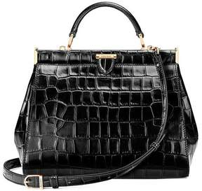 Aspinal of London Small Florence Frame Bag In Black Croc