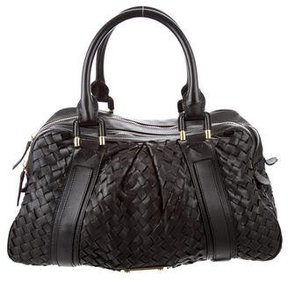 Burberry Woven Leather Bag - BROWN - STYLE