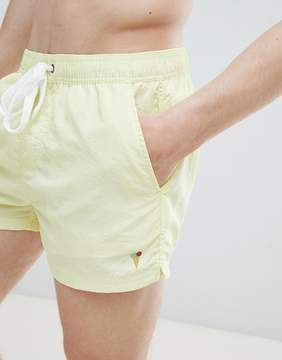 Pull&Bear Swim Shorts In Yellow With Embroidery