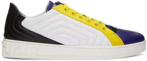 Versace Navy Quilted Greek Sneakers