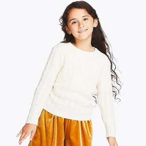 Uniqlo Kid's Cable Crewneck Long-sleeve Sweater