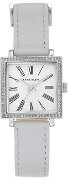 Anne Klein Silvertone Crystal-Accented Square Dial Gray Strap Watch