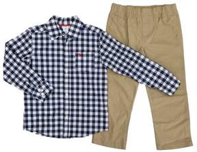 Carter's Toddler Boys 2-Piece Navy/White Plaid Woven Shirt & Khaki Pants Set