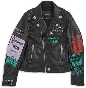 Diesel Boys' Tour-Patch Graphic Leather Moto Jacket - Big Kid