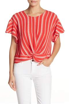 Lush Ruffle Sleeve Knotted Front Tee