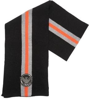Armani Junior Knitted Blend Wool Scarf With Logo Patch