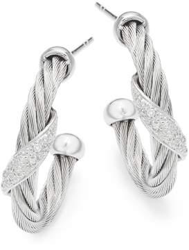 Alor Women's 18K White Gold & Stainless Steel Diamond Hoop Earrings