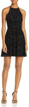 Aqua Velvet Burnout Fit-and-Flare Dress - 100% Exclusive