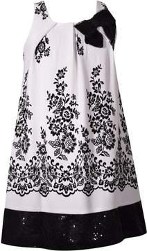 Bonnie Jean Girls 7-16 Sleeveless Floral Flocked Trapeze Dress