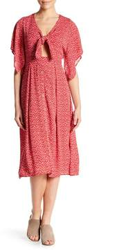 Dee Elly Short Sleeve Front Tie Print Dress