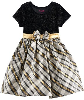 Nannette Toddler Girl Glittery Velvet & Plaid Dress