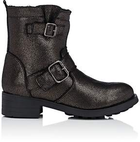 Barneys New York WOMEN'S SHEARLING-LINED LEATHER MOTO BOOTS