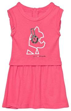 Karl Lagerfeld Pink Choupette Headphones Print Jersey Dress