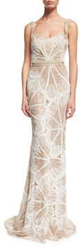 Badgley Mischka Sleeveless Embellished Draped Gown, Ivory/Silver