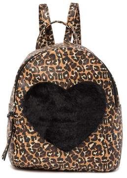 T-Shirt & Jeans Leopard Faux Fur Heart Backpack