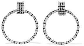 Dannijo Stefano Oxidized Silver-plated Swarovski Crystal Hoop Earrings