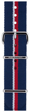 Briston 20mm Royal Navy Striped Nylon Watch Strap, Blue/Red