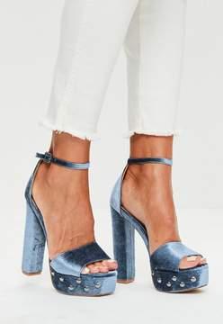 Missguided Blue Velvet Platform Sandals