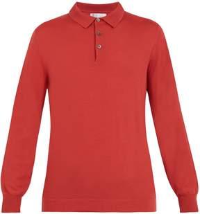 Brunello Cucinelli Point-collar wool-cashmere blend polo shirt
