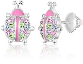 Swarovski Chanteur Jewelry White Gold Plated Sterling Silver Crystal Accented Ladybug Stud Earrings